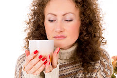 Portrait Of A Girl In A Sweater And A Mug Stock Photos