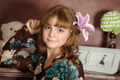 Free Portrait Of A Girl With A Lily Royalty Free Stock Photography - 30482547