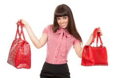 Portrait Of A Glamorous Woman Choosing Bag Royalty Free Stock Photo