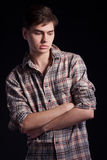 Portrait Of A Handsome Young Man In A Plaid Shirt Stock Images