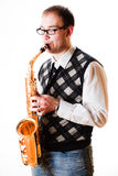 Portrait Of A Man With A Saxophone Stock Images
