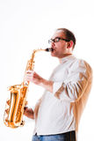 Portrait Of A Man With A Saxophone Stock Photography