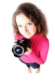 Portrait Of A Pretty Girl Photographer Isolated Stock Images