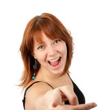 Portrait Of A Pretty Young Woman Pointing At You Stock Photography
