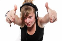 Portrait Of A Teenager Girl In Headphones Stock Images