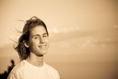Portrait Of A Teenager. Wind. Stock Photography