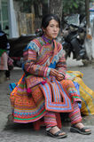 Portrait Of A Vietnamese Woman From The Hmong Tribe Stock Photo