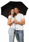 Portrait Of A Young Couple With Umbrella Royalty Free Stock Photo