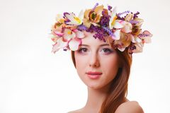 Free Portrait Of A Young Redhead Girl With Flower Wreath Royalty Free Stock Image - 111459106