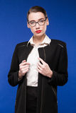 Portrait Of A Young Woman In Glasses And Jacket Stock Images