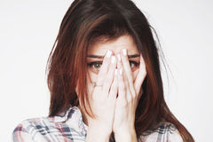 Portrait Of A Young Woman Looking In Fear Gestures, Body Langua Stock Images