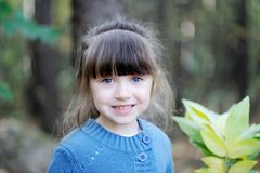 Portrait Of Adorable Child Girl In Autumn Forest Stock Photo