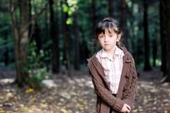 Portrait Of Adorable Child Girl In Autumn Forest Stock Photography