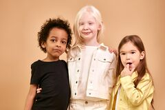 Free Portrait Of Adorable Diverse Children Isolated Stock Photos - 183982243
