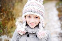 Portrait Of Adorable Girl Outdoor In Winter Park Royalty Free Stock Photos