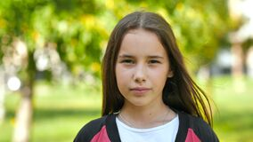 Free Portrait Of An 11 Year Old Girl With Long Hair. Stock Photography - 188010592