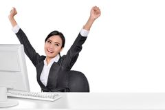 Portrait Of Asian Business Woman With Hand Raised Stock Image
