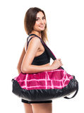Portrait Of Attractive Caucasian Smiling Woman With Sports Bag Stock Images