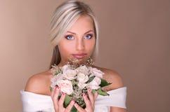 Portrait Of Beautiful Blonde Bride Stock Photography