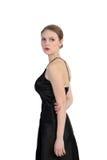 Portrait Of Beautiful Blonde In Black Dress Royalty Free Stock Image