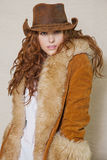 Portrait Of Beautiful Long Haired Cowgirl Royalty Free Stock Photo