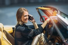 Free Portrait Of Beautiful Sexy Fashion Woman Model Sitting In Luxury Car Royalty Free Stock Image - 110514826