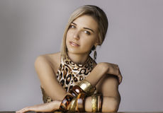 Portrait Of Beautiful Woman In Safari Chic Outfit Stock Photography