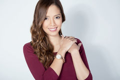 Portrait Of Beautiful Young Asian Womanbeautiful Young Asian Woman Wearing A Wrist Wat Royalty Free Stock Photography