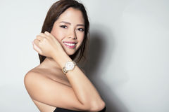 Portrait Of Beautiful Young Asian Womanbeautiful Young Asian Woman Wearing A Wrist Wat Royalty Free Stock Image