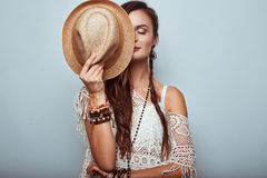 Portrait Of Beautiful Young Hippie Woman Stock Images
