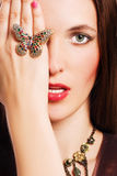 Portrait Of Beauty Young Woman With Luxury Jeweler Royalty Free Stock Images