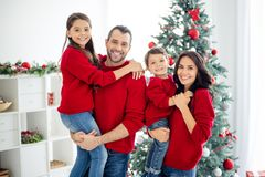 Free Portrait Of Big Full Family Cheerful Mom Dad Schoolgirl Son With Brunette Hair Enjoy Christmas X-mas In House With Royalty Free Stock Photography - 161444377