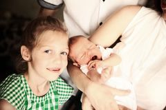 Free Portrait Of Big Sister With Newborn Baby Stock Photos - 109350753