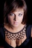 Portrait Of Brunette Girl In A Black Dress Royalty Free Stock Image