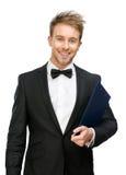 Portrait Of Businessman Handing Folder Stock Images