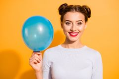 Portrait Of Charming Confident Satisfied Isolated College Student With Red Lips Lipstick Holding Blue Ballon In Her Hand Stock Photo