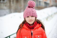 Portrait Of Child Girl In Winter Clothes Royalty Free Stock Images