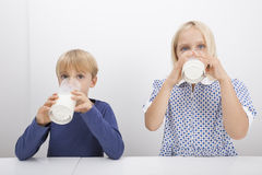 Free Portrait Of Children Drinking Milk At Table Royalty Free Stock Photos - 35911268