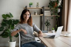 Free Portrait Of Confident Woman In Headphones Sitting At Work Desk Royalty Free Stock Photo - 221248645