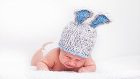 Portrait Of Crying Little Baby In A Funny Hat Royalty Free Stock Photos