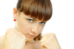 Portrait Of Fighting Attractive Girl Royalty Free Stock Photos
