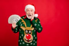 Free Portrait Of Funky Crazy Grey White Hair Old Man Retired Pensioner Hold Money Fan Win Lottery Million Dollars Finance X Stock Image - 160285821