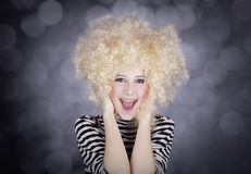 Portrait Of Funny Girl In Blonde Wig Stock Photos