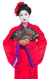 Portrait Of Geisha With Fans Stock Photo
