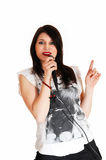 Portrait Of Girl Singing. Stock Photography