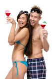 Portrait Of Half-naked Couple With Cocktails Stock Photos
