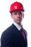 Portrait Of Handsome Engineer With Red Hardhat On His Head Stock Photos