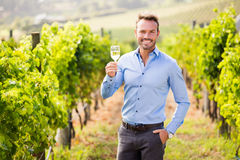Free Portrait Of Handsome Young Man Holding Wineglass Stock Photography - 95858862