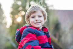 Free Portrait Of Happy Little Kid Boy In Red Jacket, Outdoors Royalty Free Stock Photography - 55634867