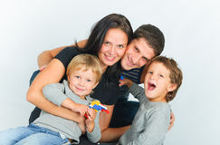 Portrait Of Happy Young Family Royalty Free Stock Images
